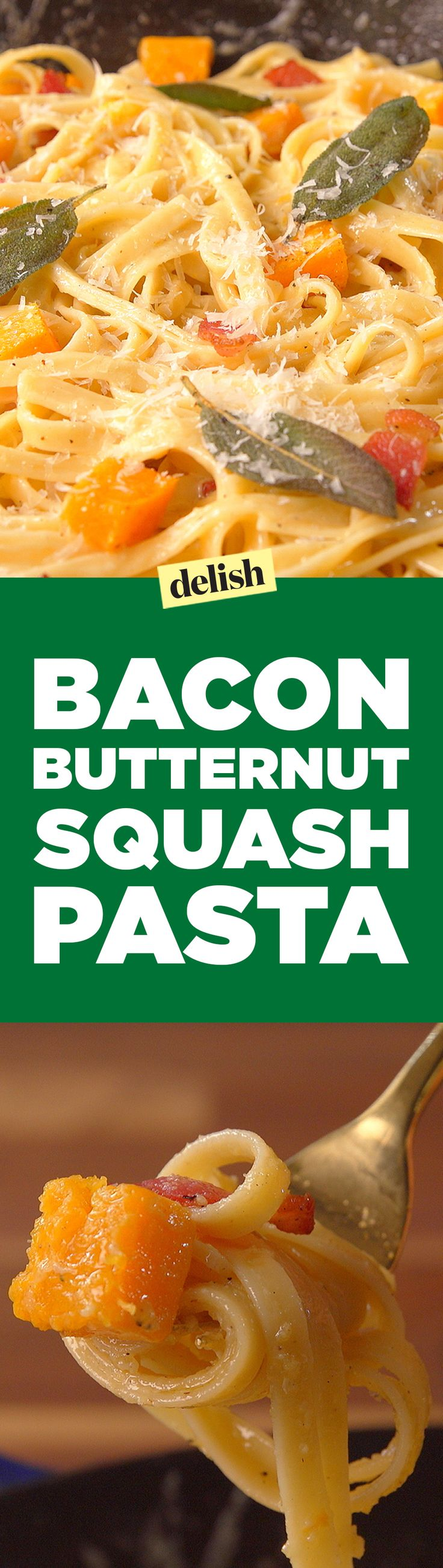 Bacon butternut squash pasta is the ultimate fall dinner. Get the recipe on Delish.com.