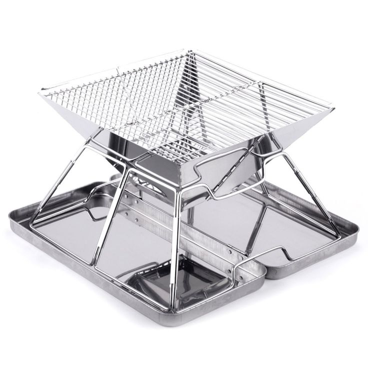 Caesar Hardware Folding Steel Portable Charcoal BBQ Grill (Small), Silver (Stainless Steel)