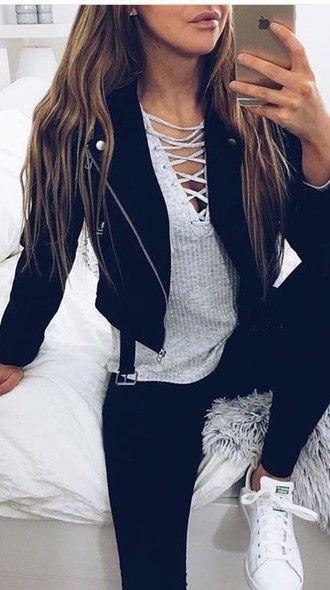 black jacket grey top lace up black leggings leggings white sneakers snekers top tumblr shirt jacket tumblr outfit lace up top coat shoes outfit black leather leather jacket blouse grey knitwear vans skinny jeans sweater grey sweater long sleeves