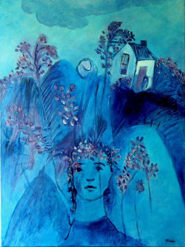 Óleo sobre tela 80x60 by Madalena Pinheiro. Aos jacarandás de Lisboa, poema de Eugénio de Andrade