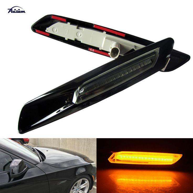 Gloss Black Type+Smoked Lens F10 Style LED Fender Side Marker Turn Signal Light for BMW E60E61F10E81E82E87E88E90E91E92E93