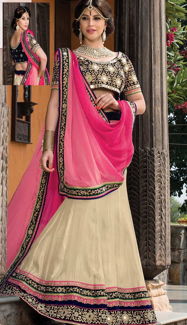 Buy Indian Traditional Cream Silk #DesignerLehengaCholi Product code: KBL-42554-CA Price: INR 14031 (Unstitch Blouse), Color: Cream Shop Online now: http://www.efello.ca/Bridal_Indian-Traditional-Cream-Silk-Designer-Lehenga-Choli_141461