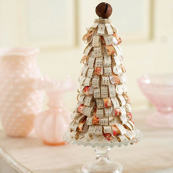 weihnachtsbaum basteln notenpapier schneiden glocke spitze. Black Bedroom Furniture Sets. Home Design Ideas