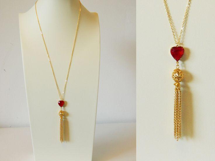 Handmade Boho Vintage Brass Tassel Necklace with Vintage Faux Ruby on ElleFulton.com