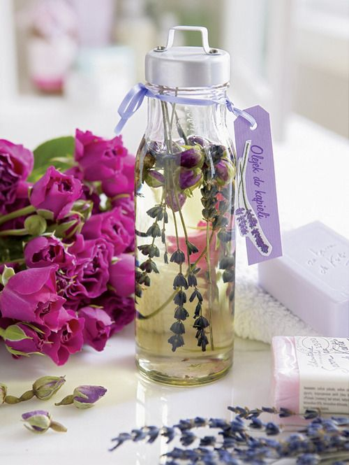 Home made Lavender Oil for use.  Fill a jar with lightly crushed Lavender Flowers, Leaves and Stems add high quality Almond or Olive Oil and leave to steep for a month. Gently shake the jar daily so that the Lavender and oil mix. After 1 month strain the mixture and transfer the Oil into a clean covered jar. Perfect for using as a Massage Oil