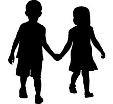 Full-size Boy and Girl Holding Hands Silhouettes, Wall Decals