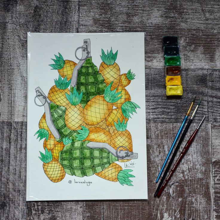 . Игра в ассоциации. Гранаты напоминают мне #ананасы , а ананасы - #гранаты 🙈 А вам?   #badartist_larakaluga #illustration #цветныекартинки #акварель #ugoloktvorchestva #watercolorillustration