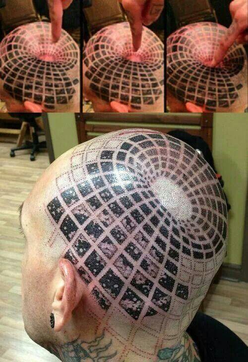 3D optical illusion head tattoo, freaky design, space age ...