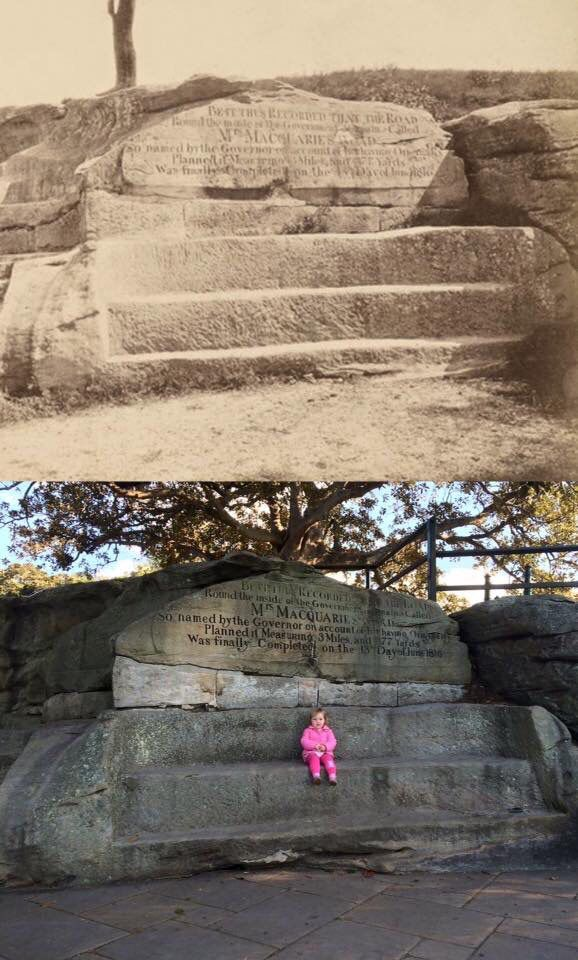 Mrs Macquarie's Chair in circa 1880 and in 2015. [circa 1880 - State Library NSW>2015 - Stuff_by_Craig Twitter. By Phil Harvey]