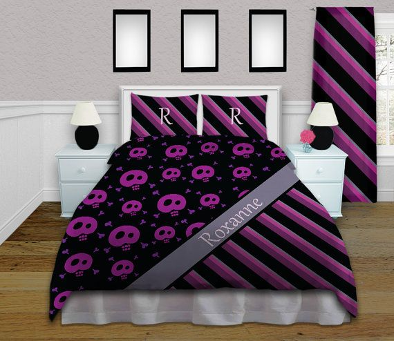 Bedding Duvet Covers, Kids Duvet Covers, Gothic Bedding, Skull Duvet Cover, Rocker Retro Bedding, Purple Bedding, King, Queen, Twin  #67