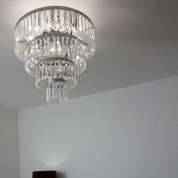 LYSEKRONE PLAFOND NICKEL X-PRISMOR Ayla! Retro! Lys i taket har en tradisjonell stil med dingler klar tone krystaller, kuttet glass, som passer perfekt med sølv, krombelagt overflate. innrede ditt hjem med en praktfull nyskapende design av fine krystall art glass.