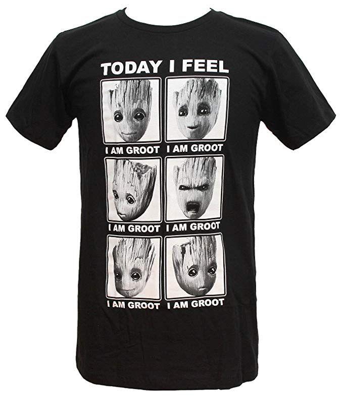 Marvel Guardians of The Galaxy T Shirt I Am Groot Mono New Official Comics Mens Charcoal Grey