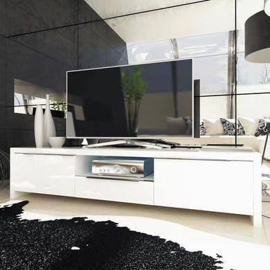 Evoque High Gloss White LED TV Unit   Furniture123