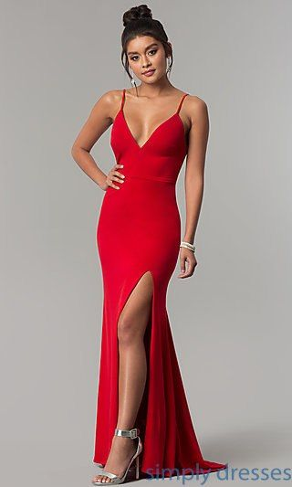 96f4a4febb3 Shop long red prom dresses with side slits at Simply Dresses. Formal v-neck  red evening dresses under  150 with v-backs