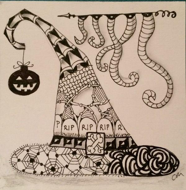 zentangled witch hat zentangles halloween pinterest