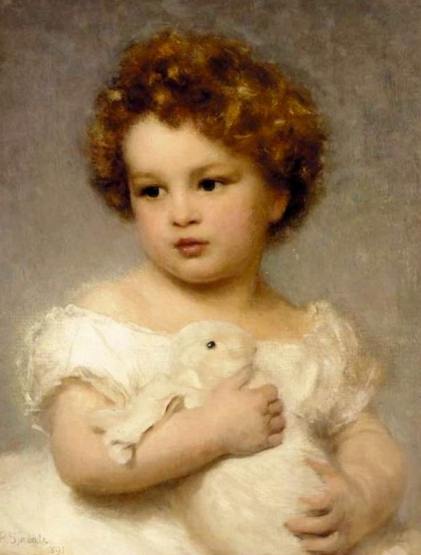 A Young Girl With Her Pet Rabbit - William Robert Symonds (1851-1934)