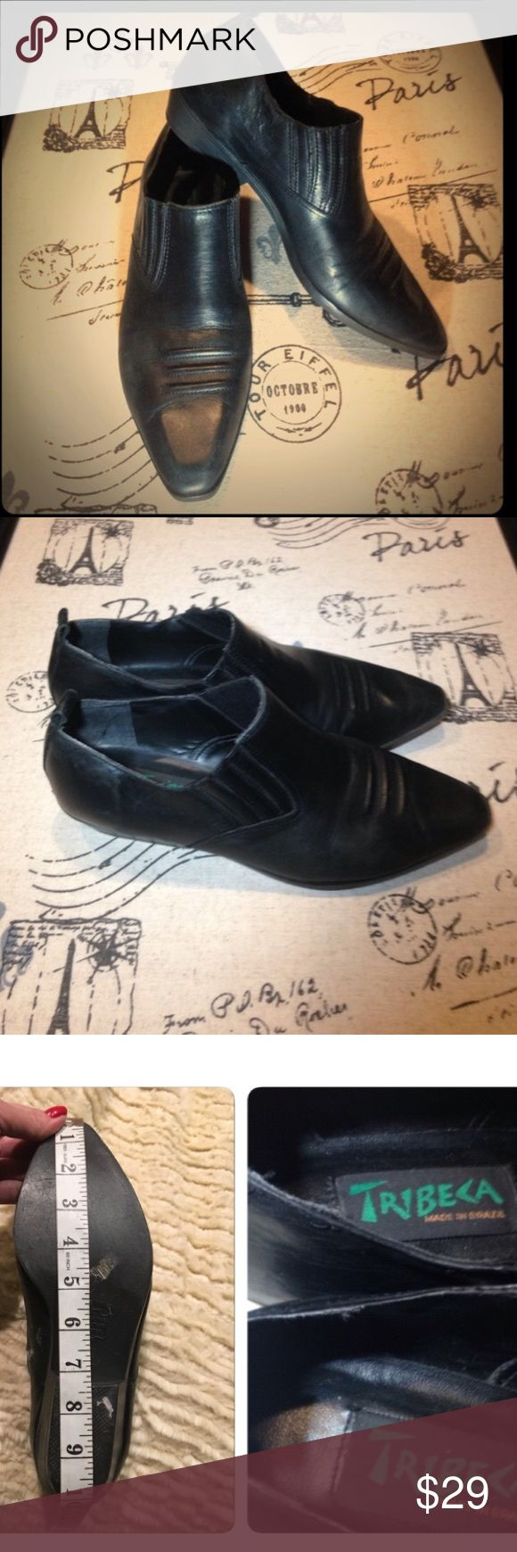 Vintage black western bootie 90s ankle boot 7.5 8 NOT Free People. But similar to a style by the brand. Awesome true vintage 90s western style minimalist boots. Marked an 8 but I think they'd best fit a 7.5 with socks. Made by TriBeCa. Pure 90s glory. Very sleek profile. Soft leather. And in great overall vintage condition. Please feel free to offer!! Free People Shoes Ankle Boots & Booties