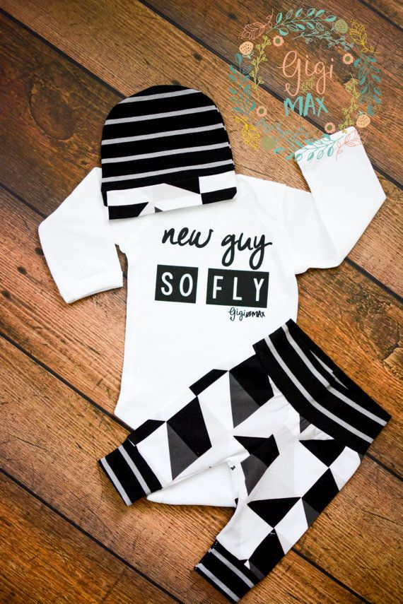 Newborn Baby boy coming home outfit New Guy So Fly by GigiandMax