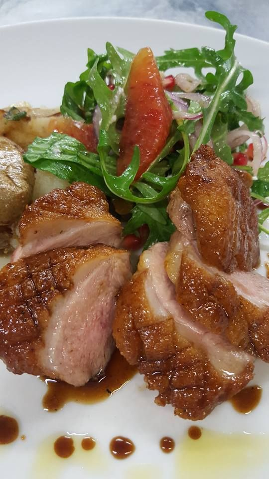 Another new dish, pomegranate duck breast with a sicilian blood orange and sheep's cheese salad. So summery for days like today. Fratelli restaurant, wellington. http://www.fratelli.net.nz/