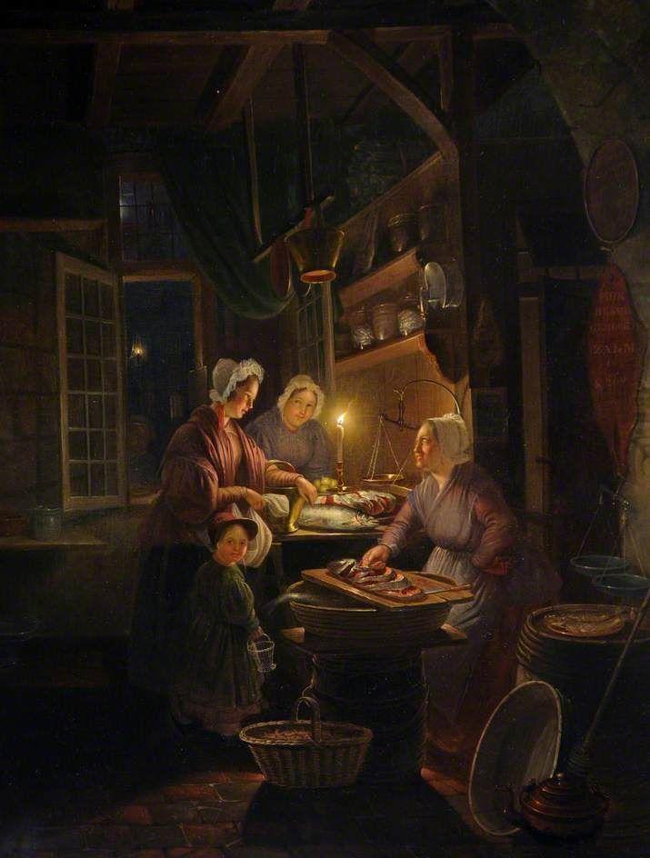 Mogelijk een navolger.  Interieur van een viswinkel bij kaarslicht. 19e eeuw. St Helier Town Hall, Jersey. Mogelijk naar Gerard Dou: de kruidenierswinkel, 1647.