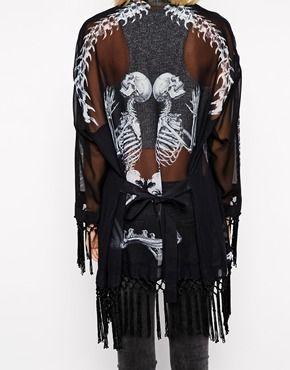 Religion Praying Skull & Bones Longline Kimono