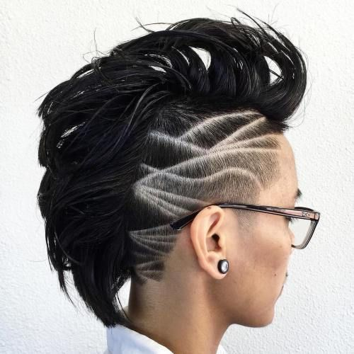 Women's Mohawk With Carved Designs