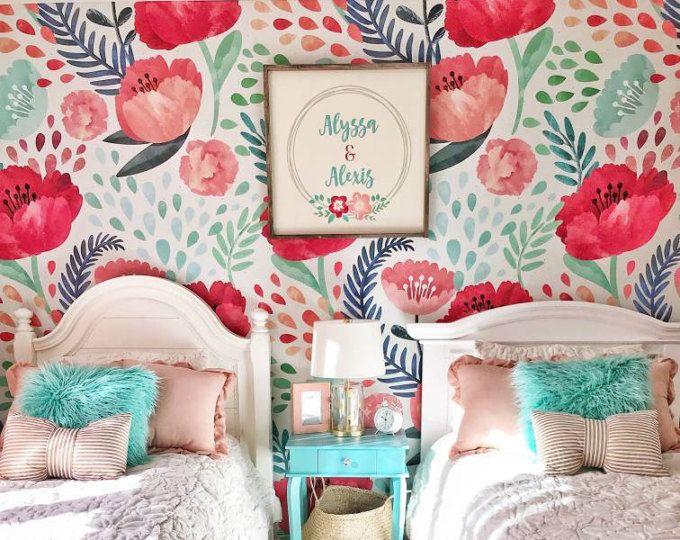 Vintage Poppy Flower Wallpaper Nursery Wallpaper Vintage Wall Art Peel And Stick Wall Mural Watercolo Removable Wallpaper Floral Wallpaper Wall Murals