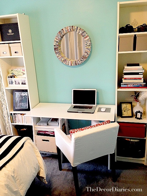 HOME DECOR Tiffany Blue Bedroom Officelike The Book Shelves On Sides