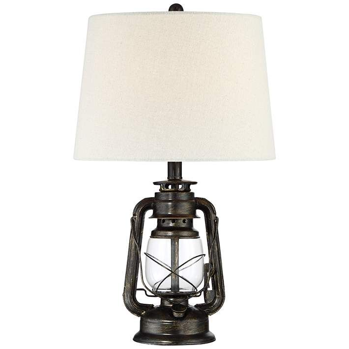 Murphy Weathered Bronze Miner Lantern Table Lamp 53x62 Lamps Plus In 2021 Lantern Table Lamp Franklin Iron Works Metal Table Lamps