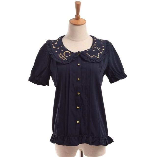 Frauen Lolita Bluse Nette Peter Pankragen Chiffon Mond Star Constellation Embroideried Kurzarm Hemd Sommer Tops