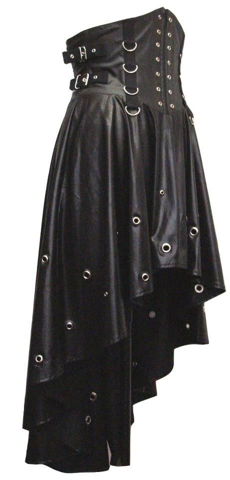 leather bodice tapered black industrial goth skirt