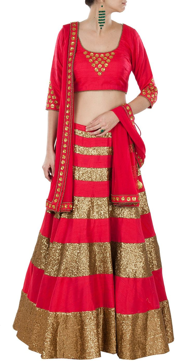 Modern bridal Lehenga.  Gold sequin and red Indian wedding outfit