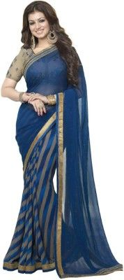 Pramukh Saris Embroidered Bollywood Georgette Saree(Blue)