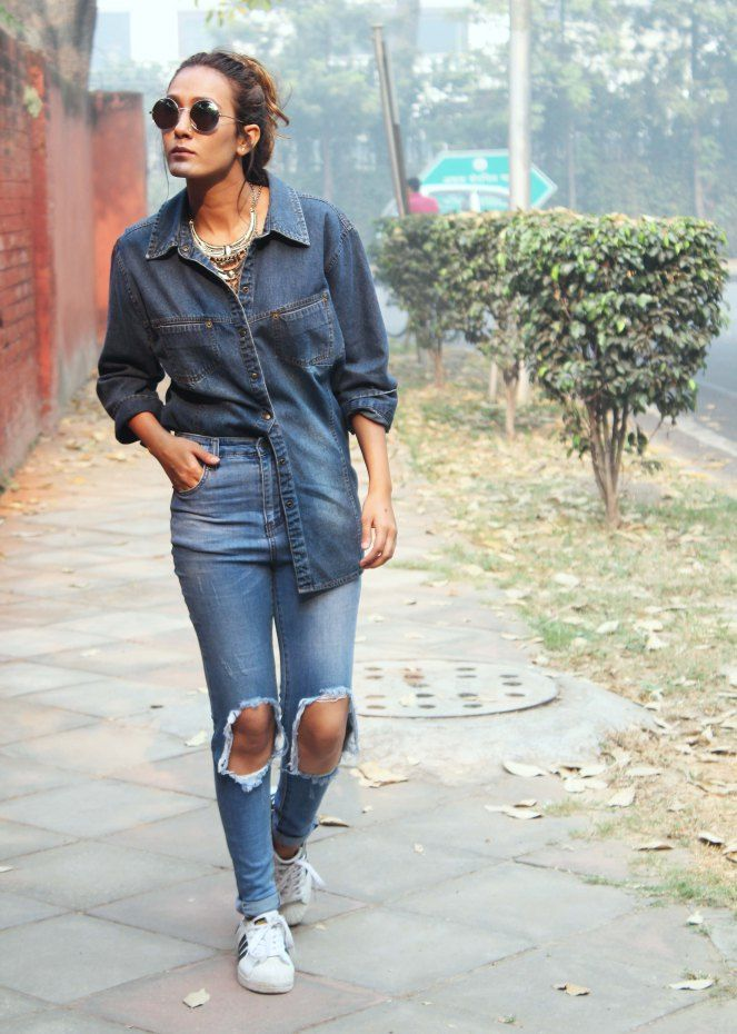 Denim on Denim - Street style #denim #love