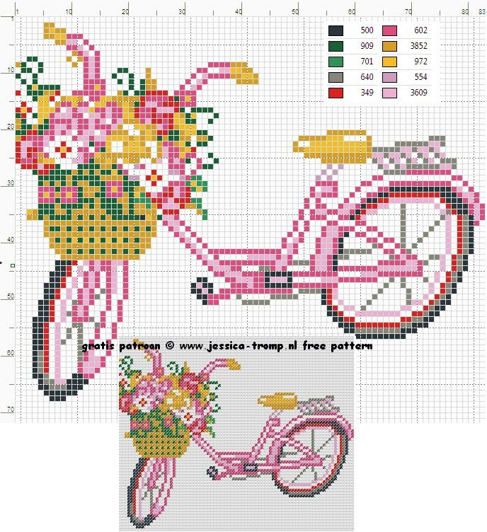 Pretty Cute Bike Cross Stitch or Perler Bead Pattern