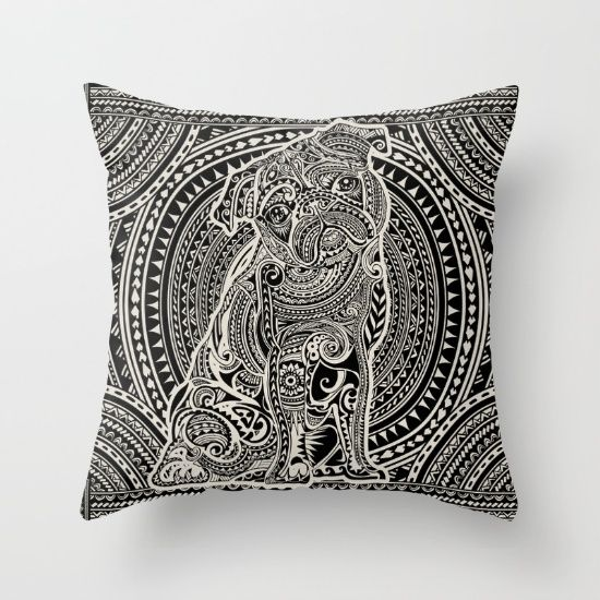 Polynesian Pug Throw Pillow by Huebucket. Worldwide shipping available at Society6.com. Just one of millions of high quality products available.