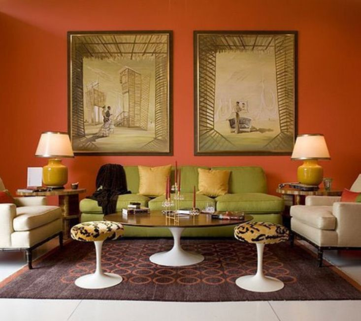 Rich Colour Combination Of Terracotta, Apple Green, Cream And Old Gold,  Striking Artwork · Orange Living RoomsLiving Room ... Part 93