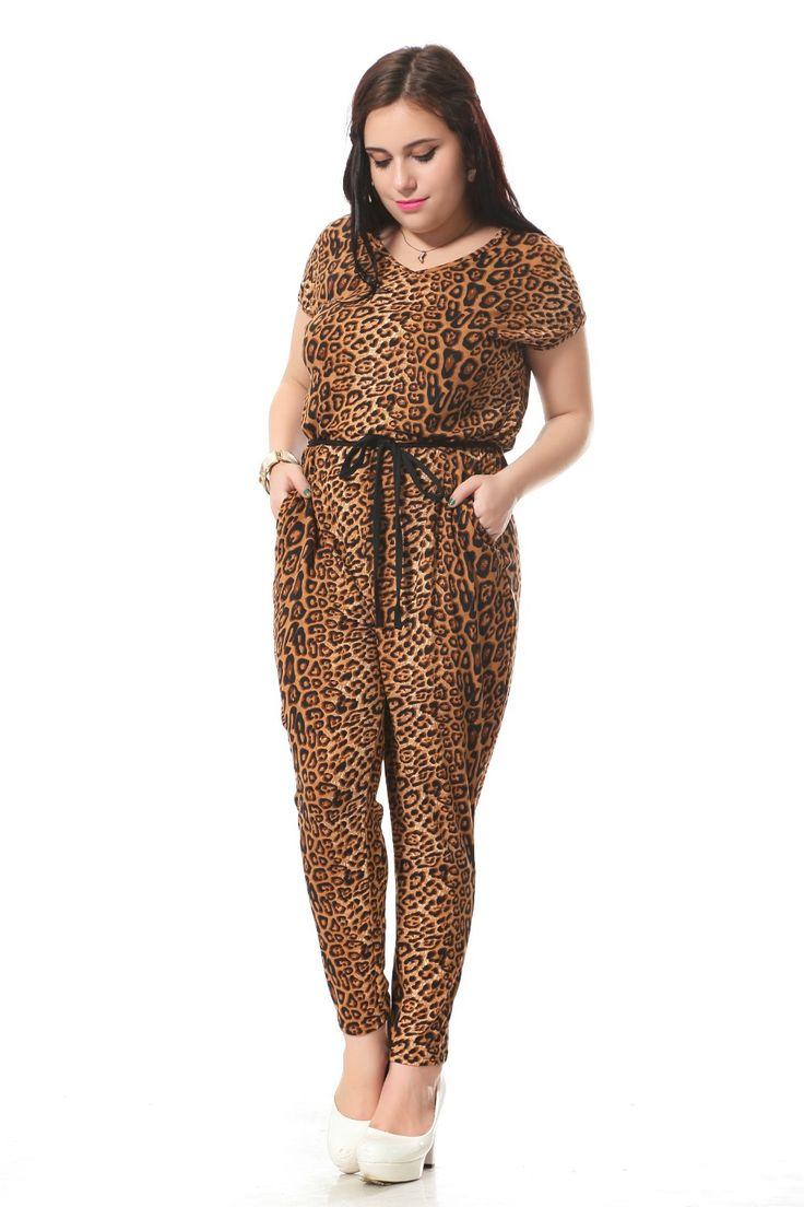 Plus size leopard print jumpsuit women with Sashes decoration Sexy v-neck jumpsuit  Loose cotton jumpsuits 3xl-7xl 004