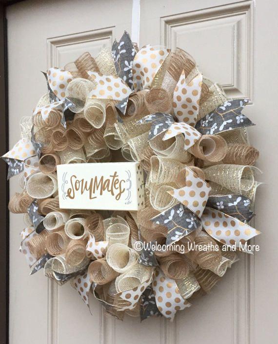 Wedding Wreath Bridal Wreath Burlap Wedding Wreath Bridal