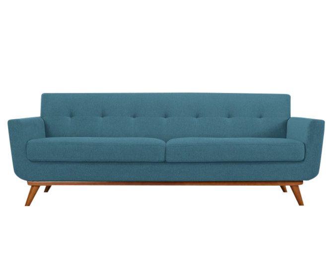 Wonderschone design RETRO bank. Model Vandenberg is leverbaar in grijs en turquoise. Vakwerk in kwaliteit en vormgeving en te koop bij https://www.meubelen-online.nl/Bank-Vandenberg-stof-blauw-3-zits-met-hout