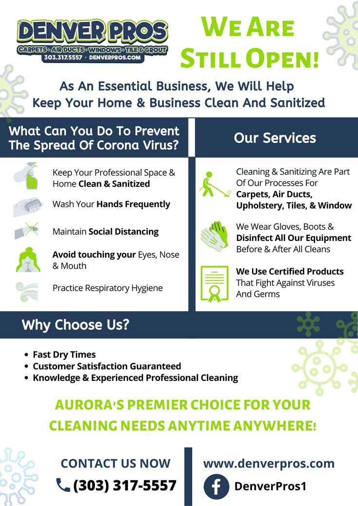Denver Pros is open for cleaning and sanitizing services