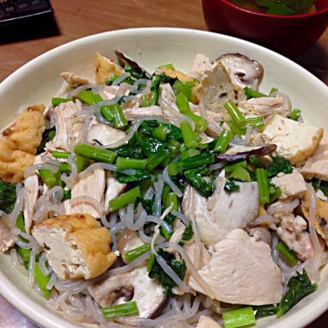 かぶ菜 鶏むね肉 がんも 糸こんにゃく しいたけ アサリのお吸い物の汁 - 26件のもぐもぐ - 和風出汁炒め by jazzwine