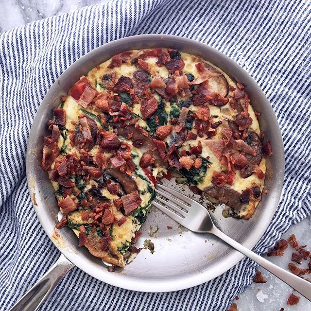 Good morning! Christi here from @BazaarLazarr! A frittata is one of my absolute favorite Whole30 breakfasts. It's great for a crowd, or for a couple of days of meal prep. Now, this one is a little epic because it's topped with a massive amount of bacon! The regular bacon can be replaced with turkey bacon, or ground sausage as long as they are all compliant. # Egg White, Spinach, Red Pepper, Mushroom & Bacon Frittata # Ingredients:  1 8oz. package compliant Paleo Bacon  ½ cup Chopped Shallots…