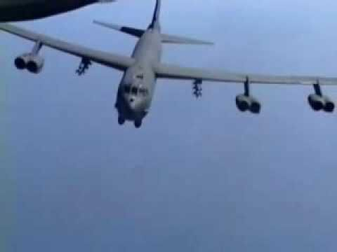 B-52 Dropping Lots & Lots of Bombs - Carpet Bombing. Awesome footage -- but the music part drives to your nerves...