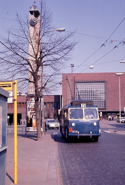 15.05.1976 Tampere railway station and trolley. Photo by Jorma Rauhala. One trolley is in Vapriikki museum at Tampere.