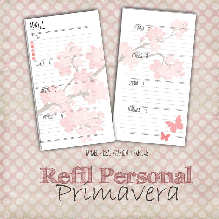 Nome: Primavera Dimensione: Personal Tipologia: Settimana su 2 Pagine - Consecutivo Note: Spazio per To do e Note prima della settimana.