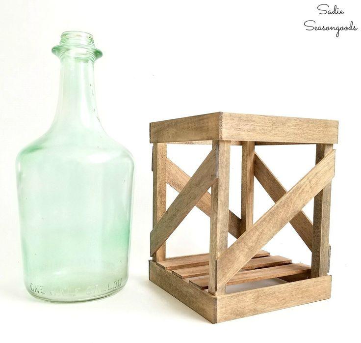 DIY tabletop crated demijohn from upcycled vintage wine bottle and DIY wooden crate from craft wood by Sadie Seasongoods / www.sadieseasongoods.com