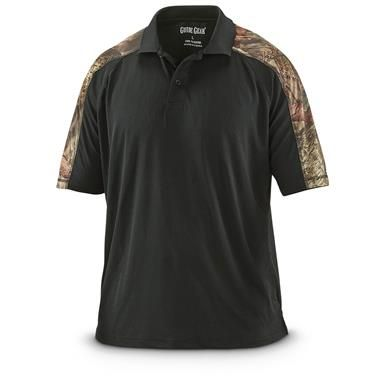 Guide Gear Men's Camo Short Sleeve Polo Shirt, Black / Mossy Oak Break-Up Country