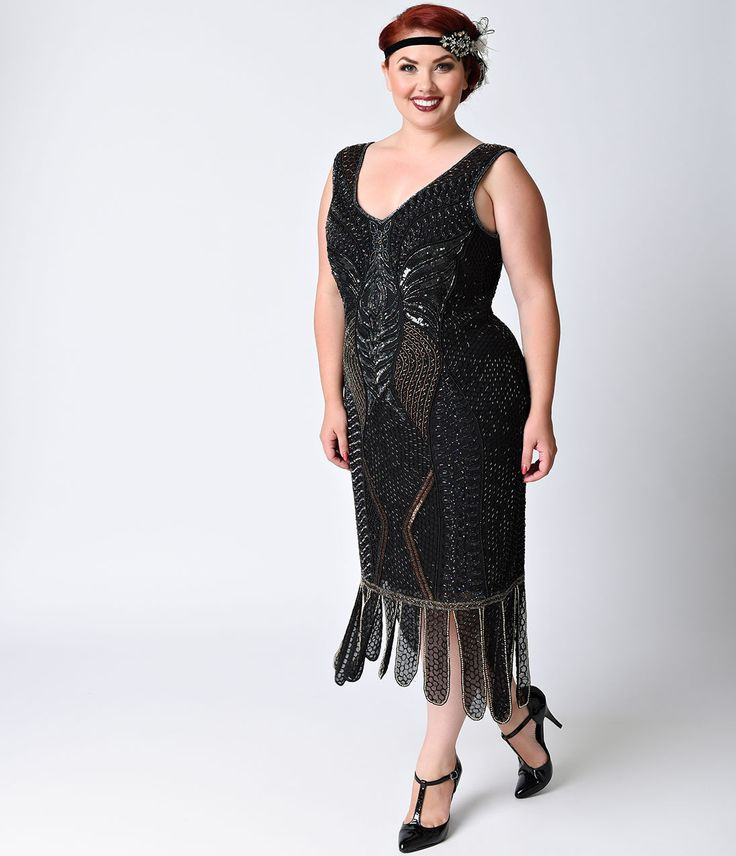 Plus Size 20s Style Dresses: Roaring Beauty 1920s Flapper Gatsby ...