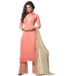 Buy Pink embroidered georgette semi stitched salwar with dupatta pakistani-salwar-kameez online